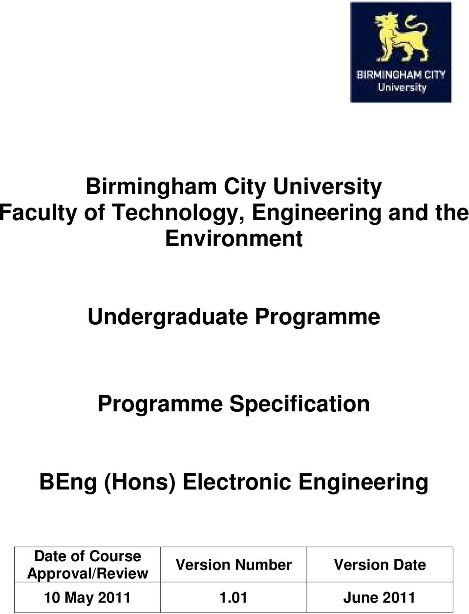 Specification BEng (Hons) Electronic Engineering Date of