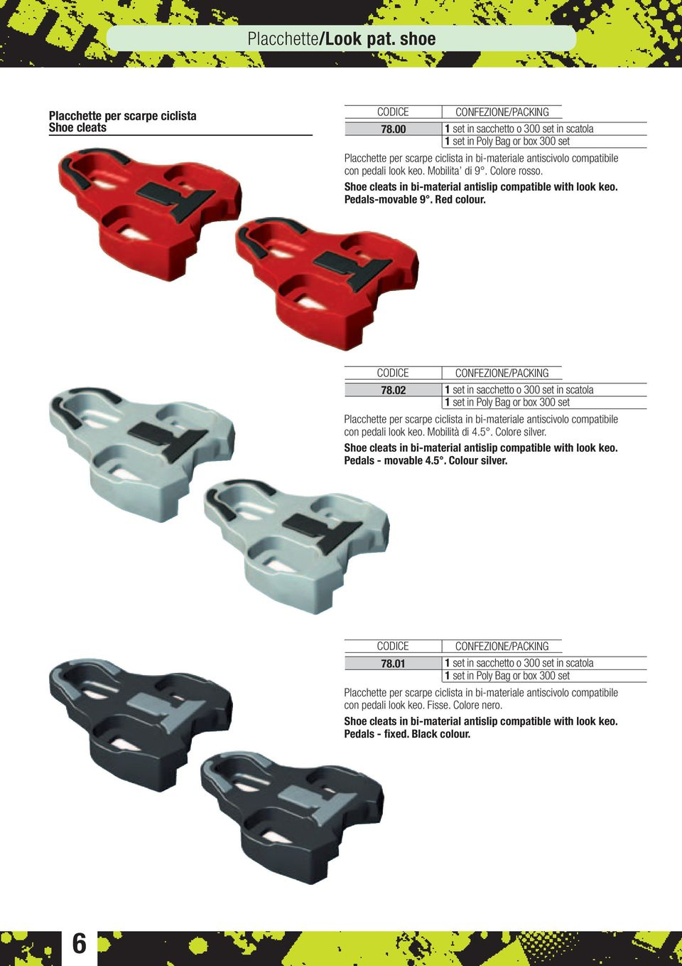 Shoe cleats in bi-material antislip compatible with look keo. Pedals-movable 9. Red colour. 78.