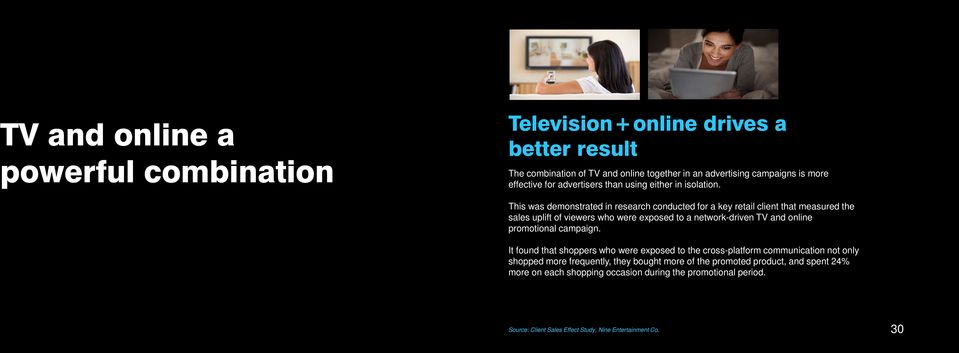 This was demonstrated in research conducted for a key retail client that measured the sales uplift of viewers who were exposed to a network-driven TV and online