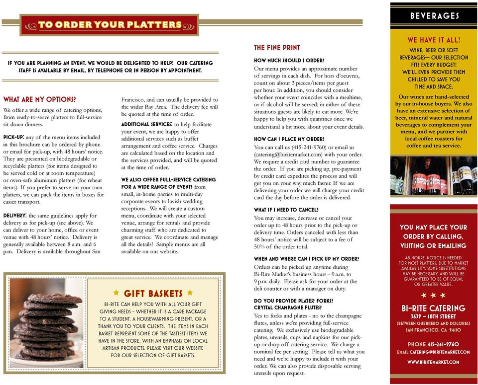 Pick Up Any Of The Menu Items Included In This Brochure Can Be Ordered