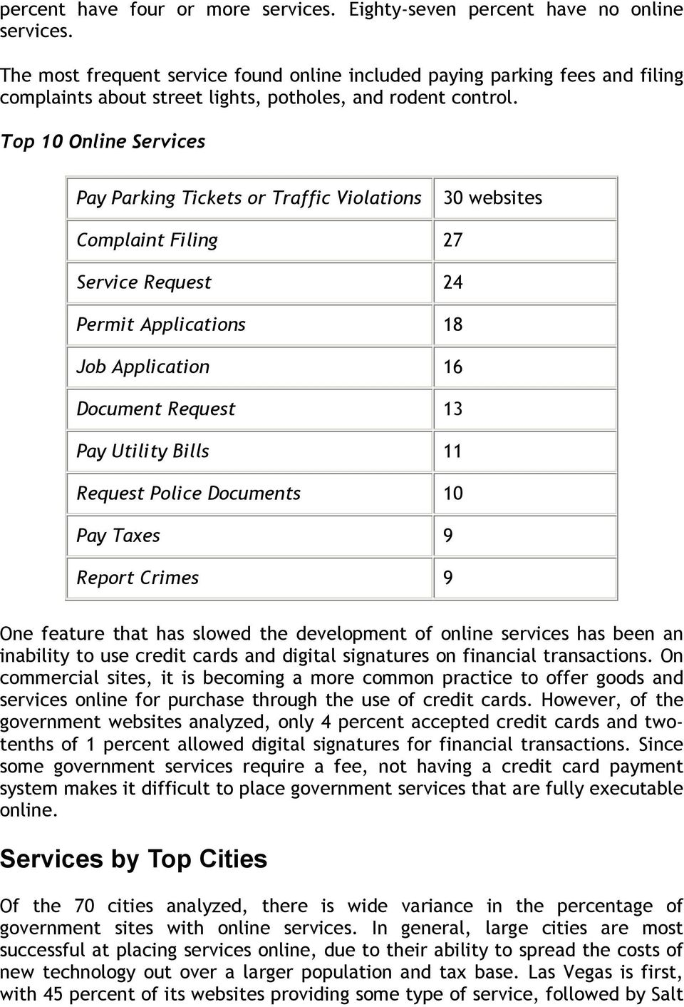 Top 10 Online Services Pay Parking Tickets or Traffic Violations 30 websites Complaint Filing 27 Service Request 24 Permit Applications 18 Job Application 16 Document Request 13 Pay Utility Bills 11