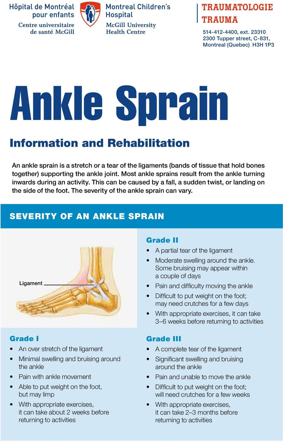 together) supporting the ankle joint. Most ankle sprains result from the ankle turning inwards during an activity. This can be caused by a fall, a sudden twist, or landing on the side of the foot.