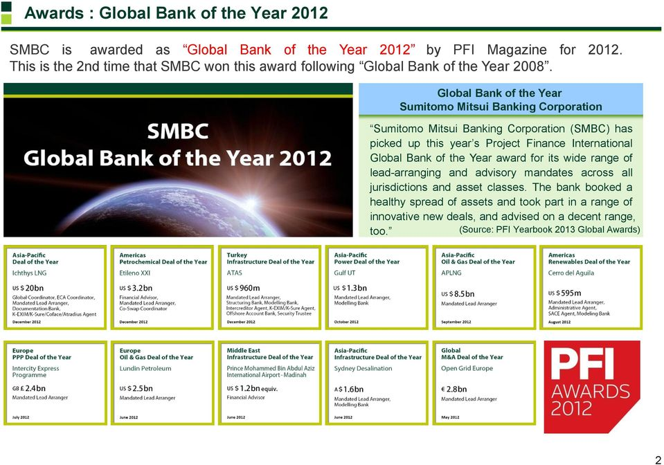 Global Bank of the Year Sumitomo Mitsui Banking Corporation Sumitomo Mitsui Banking Corporation (SMBC) has picked up this year s Project Finance International Global