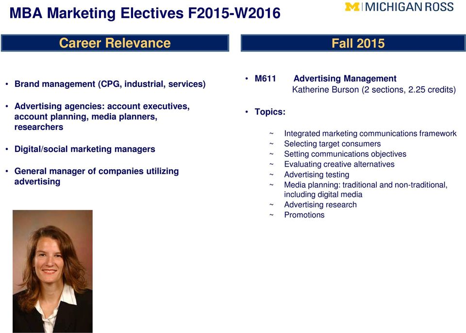 25 credits) Topics: ~ Integrated marketing communications framework ~ Selecting target consumers ~ Setting communications objectives ~ Evaluating