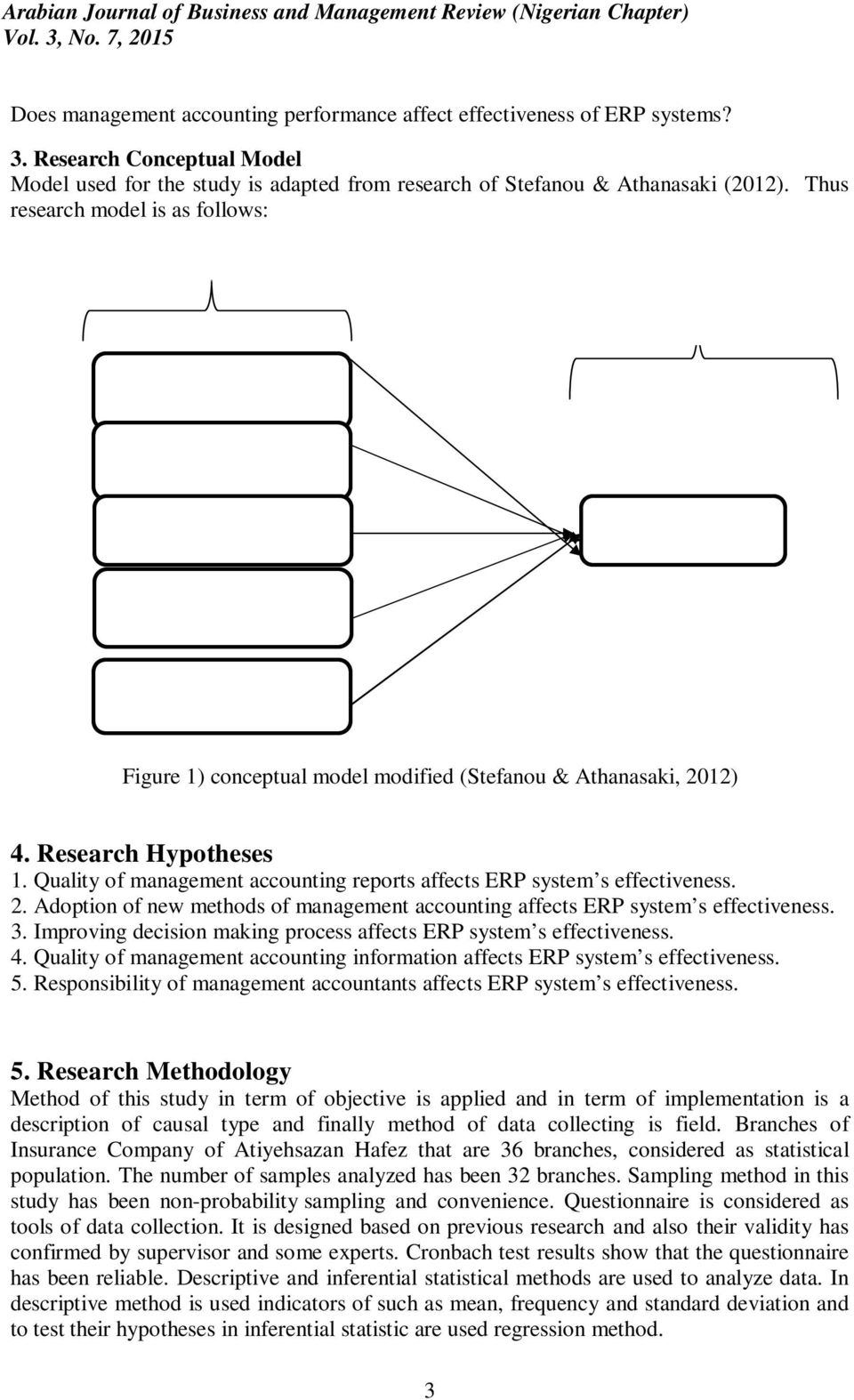 System s Effectiveness Quality of management accounting information Responsibility of Management Accountants Figure 1) conceptual model modified (Stefanou & Athanasaki, 2012) 4. Research Hypotheses 1.