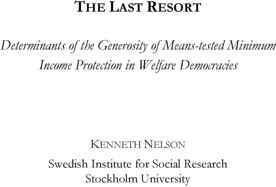 Welfare Democracies KENNETH NELSON Swedish