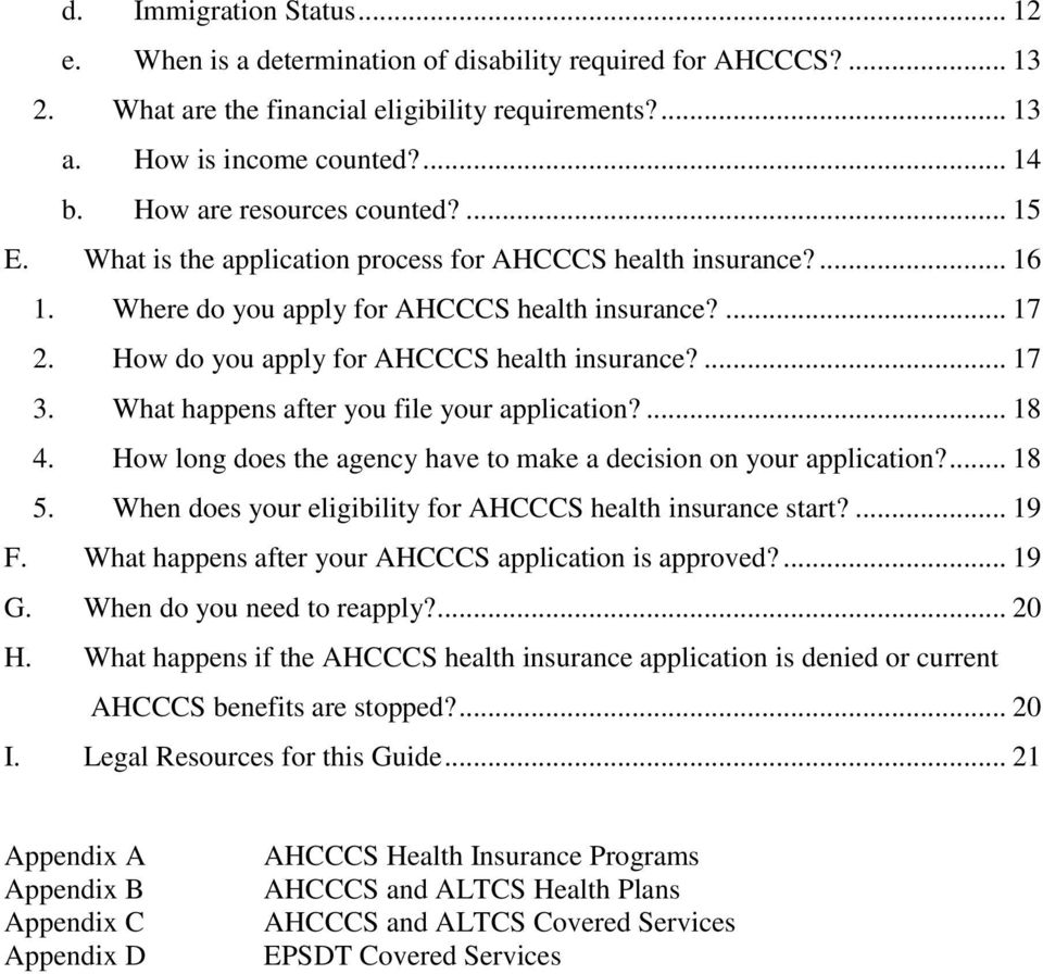 How do you apply for AHCCCS health insurance?... 17 3. What happens after you file your application?... 18 4. How long does the agency have to make a decision on your application?... 18 5.