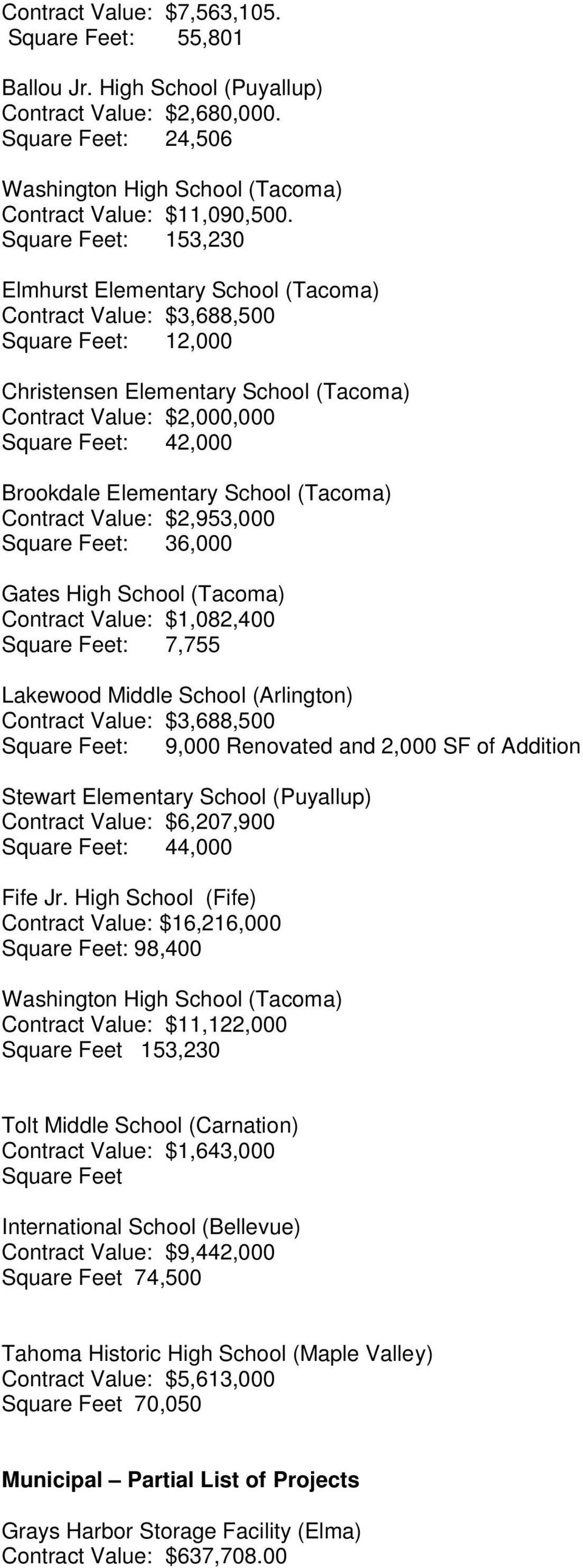 Elementary School (Tacoma) Contract Value: $2,953,000 Square Feet: 36,000 Gates High School (Tacoma) Contract Value: $1,082,400 Square Feet: 7,755 Lakewood Middle School (Arlington) Contract Value: