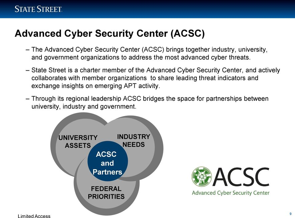 State Street is a charter member of the Advanced Cyber Security Center, and actively collaborates with member organizations to share leading
