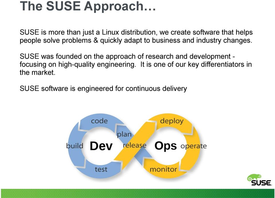 SUSE was founded on the approach of research and development focusing on high-quality engineering.