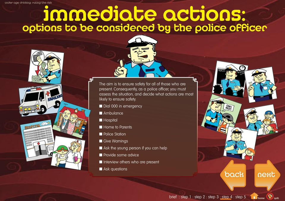 Consequently, as a police officer, you must assess the situation, and decide what actions are most likely to
