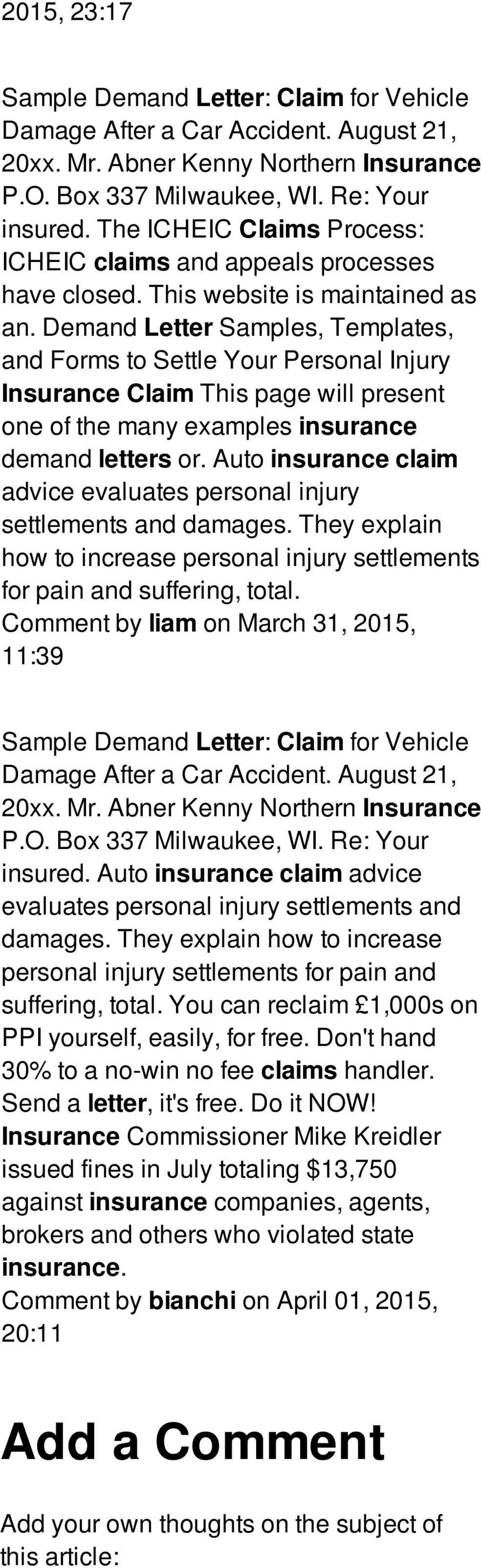 Demand Letter Samples, Templates, and Forms to Settle Your Personal Injury Insurance Claim This page will present one of the many examples insurance demand letters or.