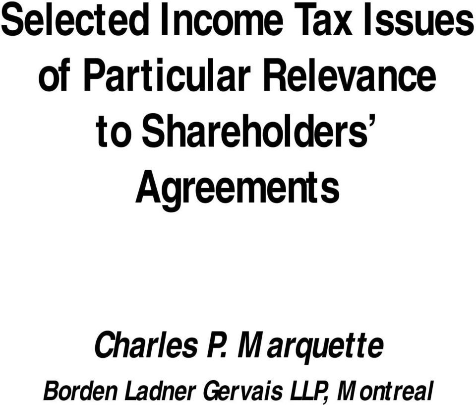 Shareholders Agreements Charles P.