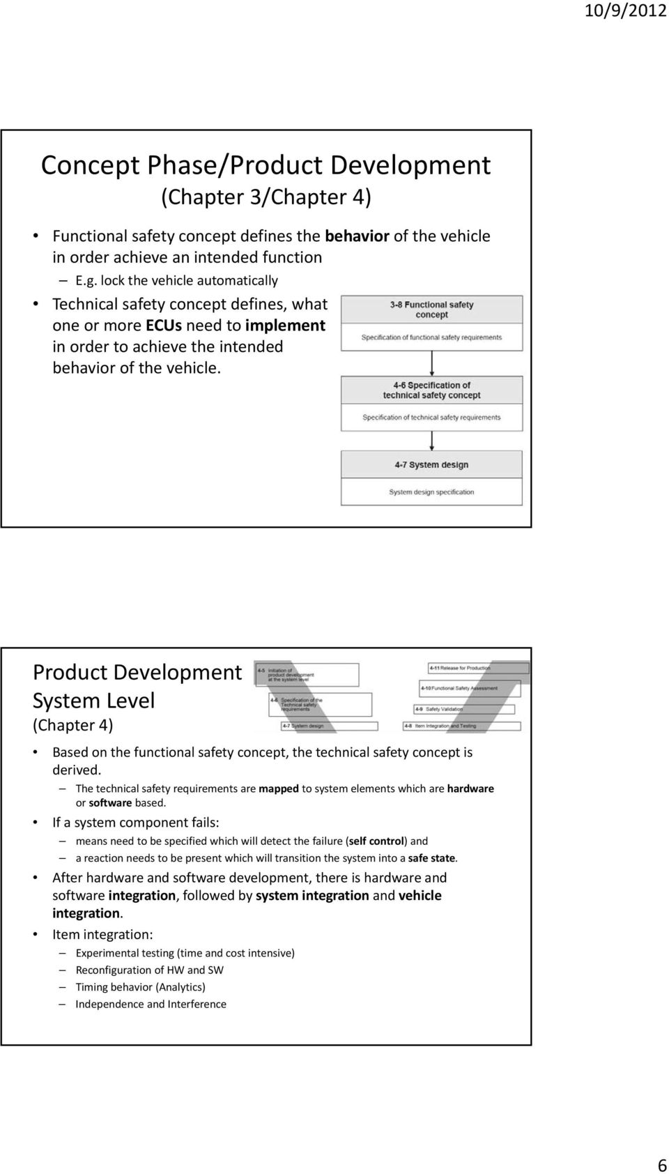 Product Development System Level (Chapter 4) Based on the functional safety concept, the technical safety concept is derived.