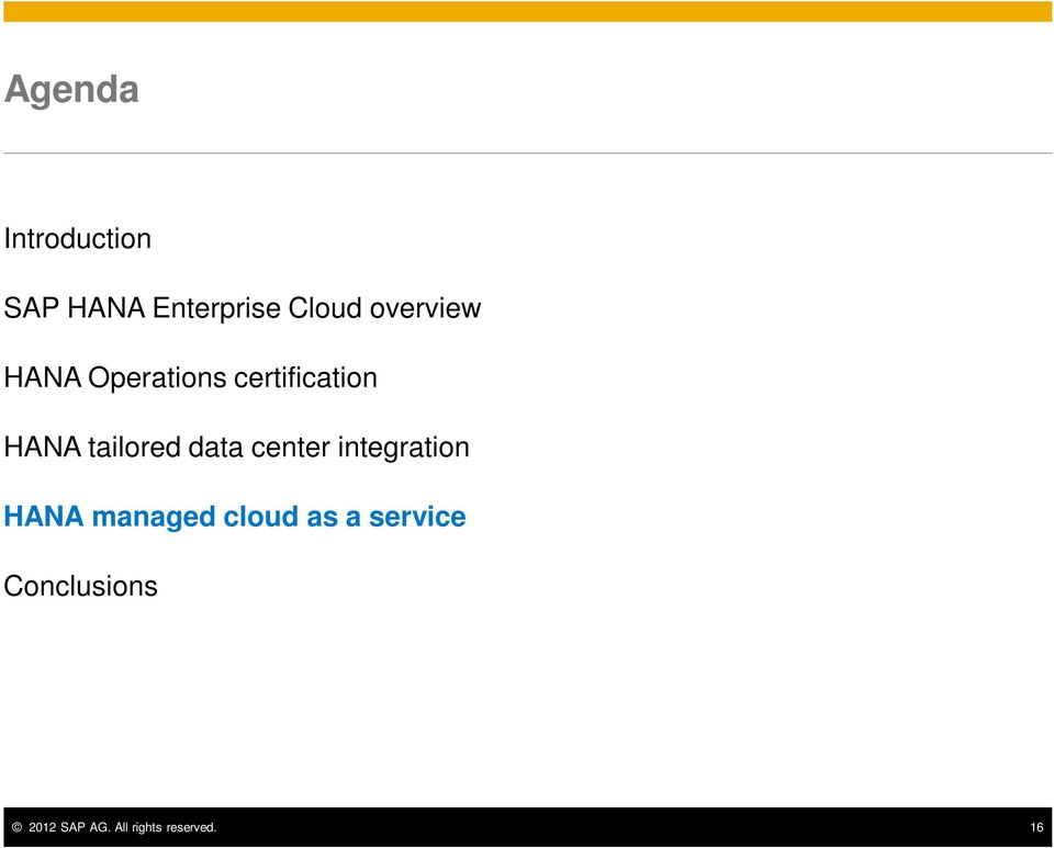 tailored data center integration HANA managed