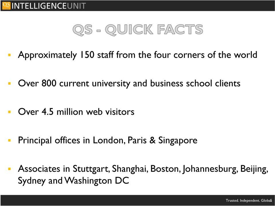 5 million web visitors Principal offices in London, Paris & Singapore