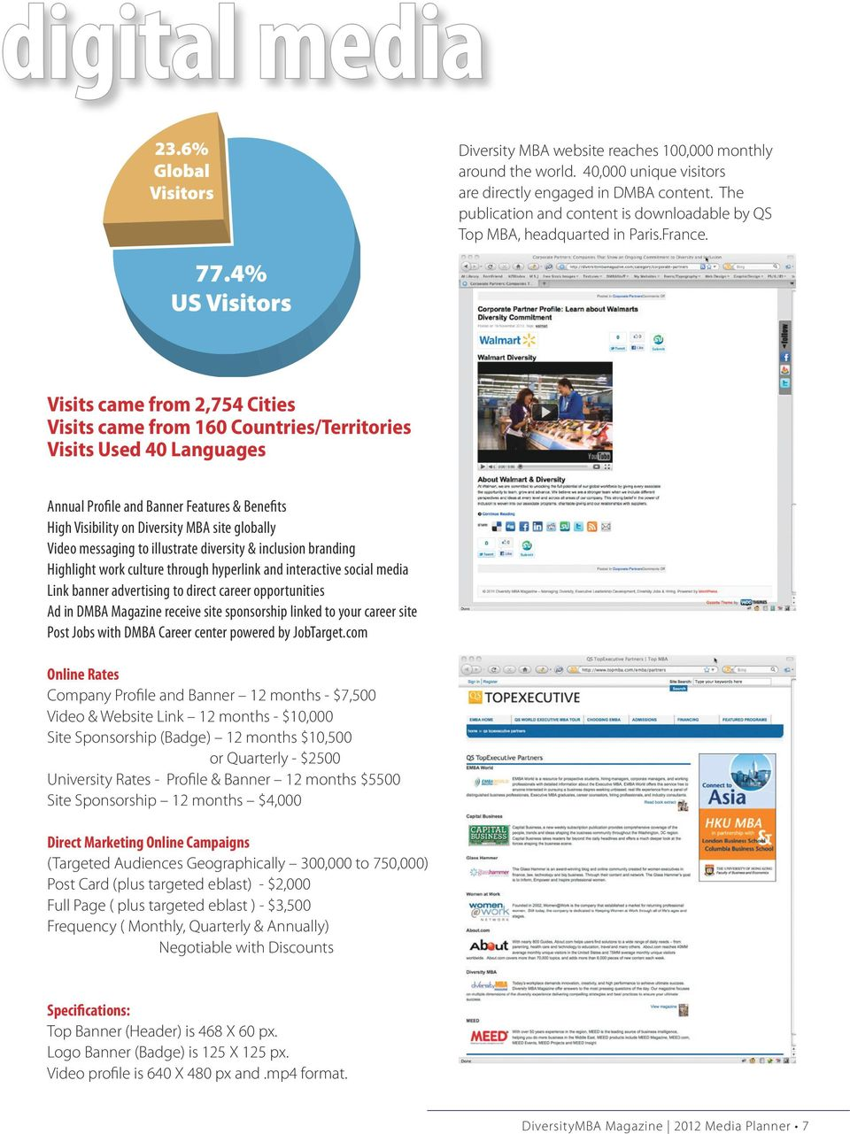 Visits came from 2,754 Cities Visits came from 160 Countries/Territories Visits Used 40 Languages Annual Profile and Banner Features & Benefits High Visibility on Diversity MBA site globally Video