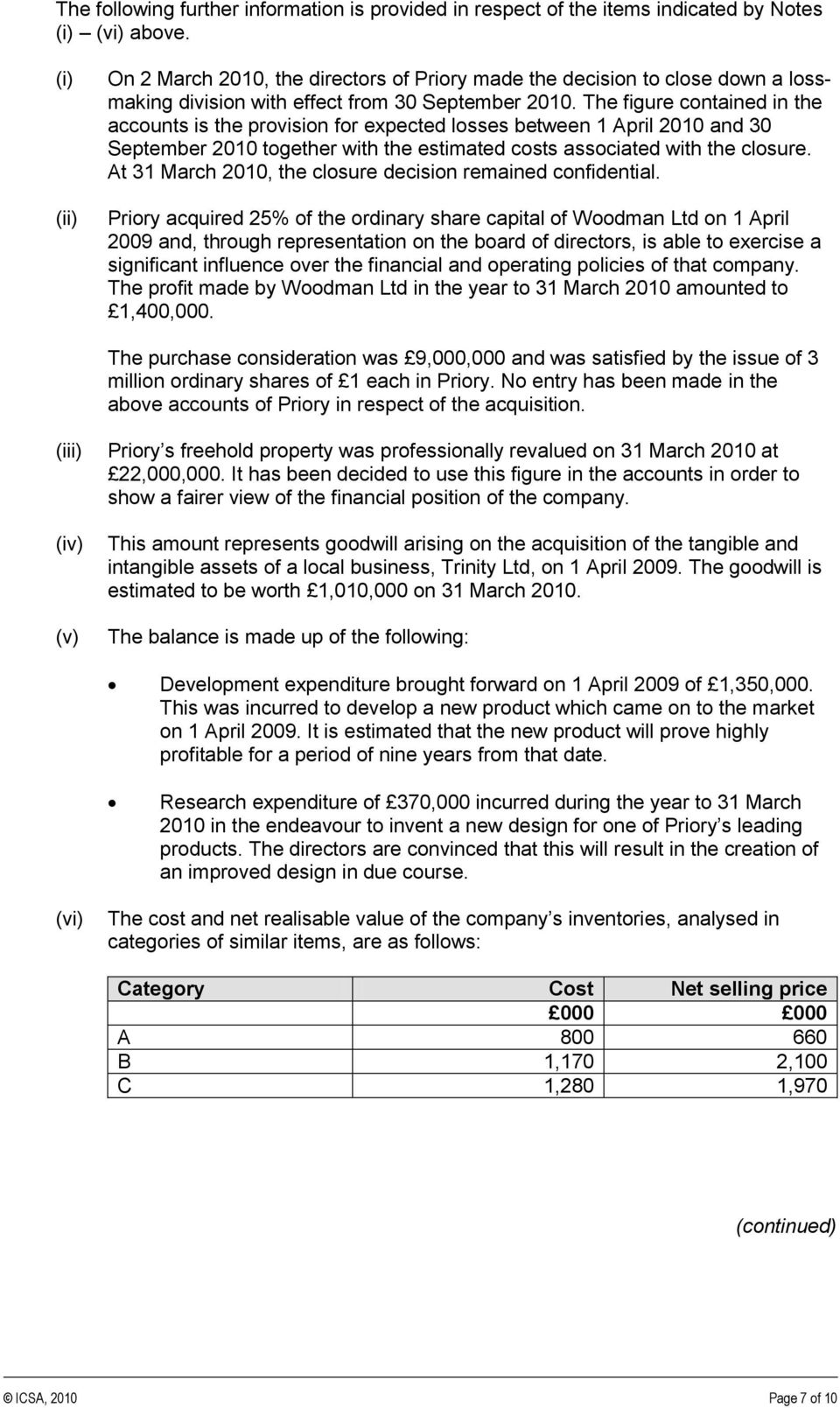 The figure contained in the accounts is the provision for expected losses between 1 April 2010 and 30 September 2010 together with the estimated costs associated with the closure.
