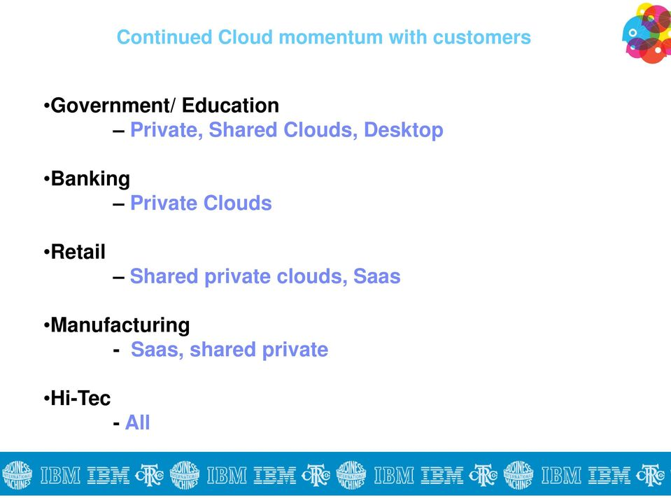 Desktop Banking Private Clouds Retail Shared