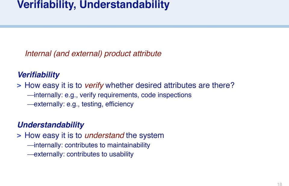 , verify requirements, code inspections externally: e.g.