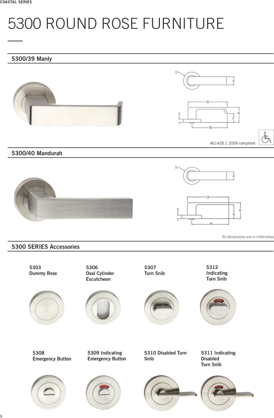 millimetres 5300 SERIES Accessories 5303 Dummy Rose 5306 Oval Cylinder Escutcheon 5307 Turn