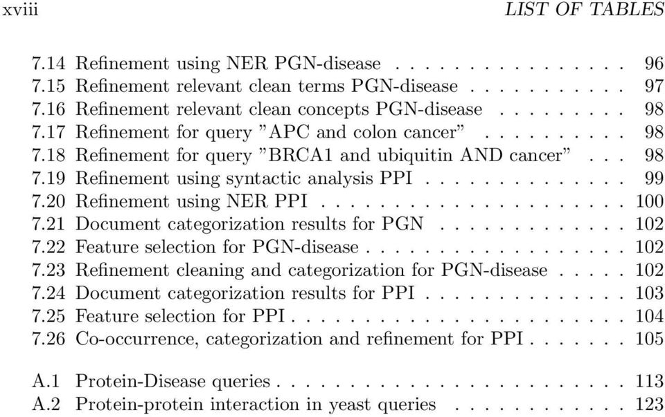 20 Refinement using NER PPI..................... 100 7.21 Document categorization results for PGN............. 102 7.22 Feature selection for PGN-disease.................. 102 7.23 Refinement cleaning and categorization for PGN-disease.