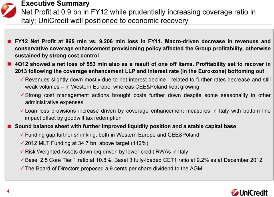 Macro-driven decrease in revenues and conservative coverage enhancement provisioning policy affected the Group profitability, otherwise sustained by strong cost control showed a net loss of 553 mln