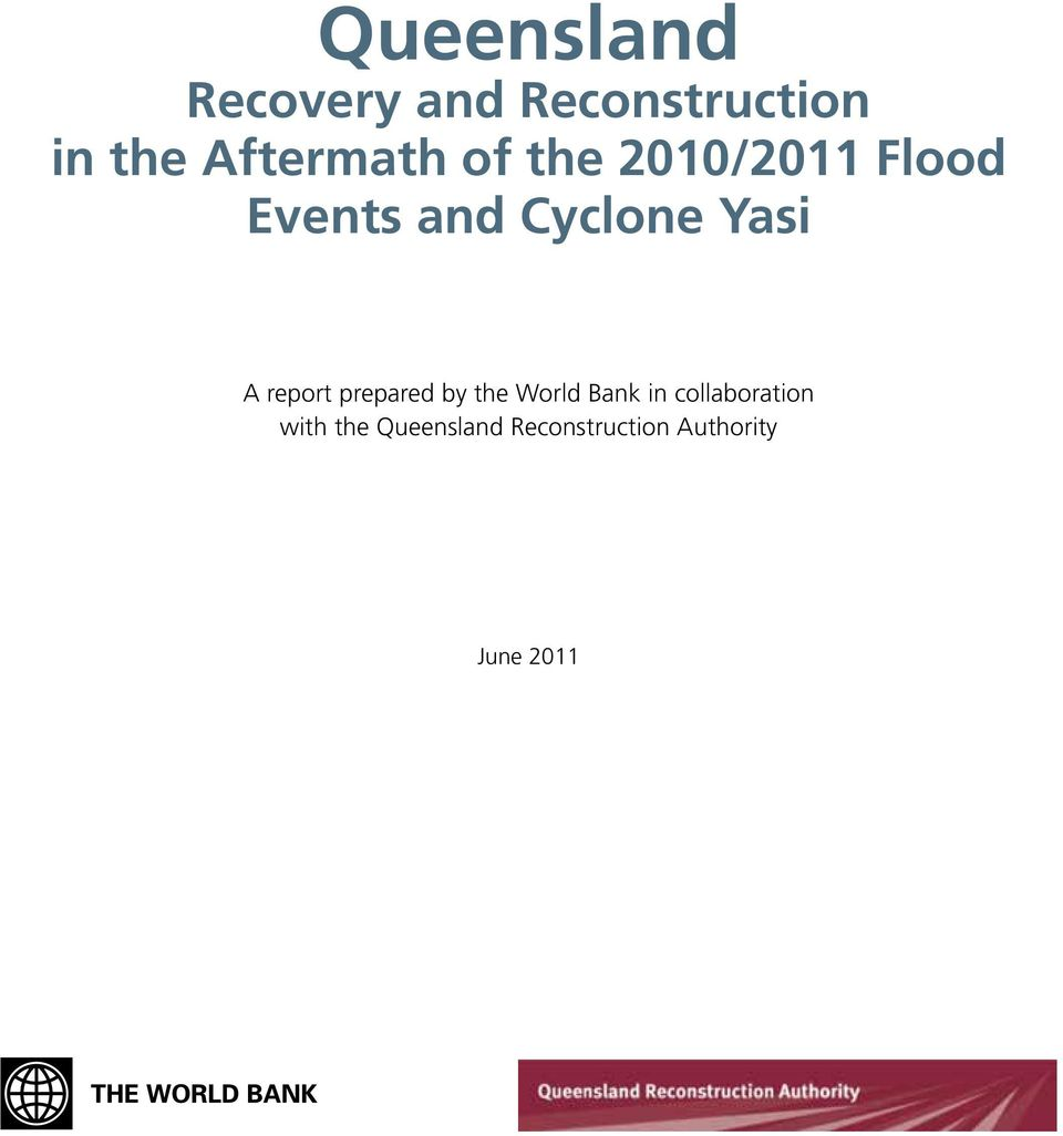 Yasi A report prepared by the World Bank in