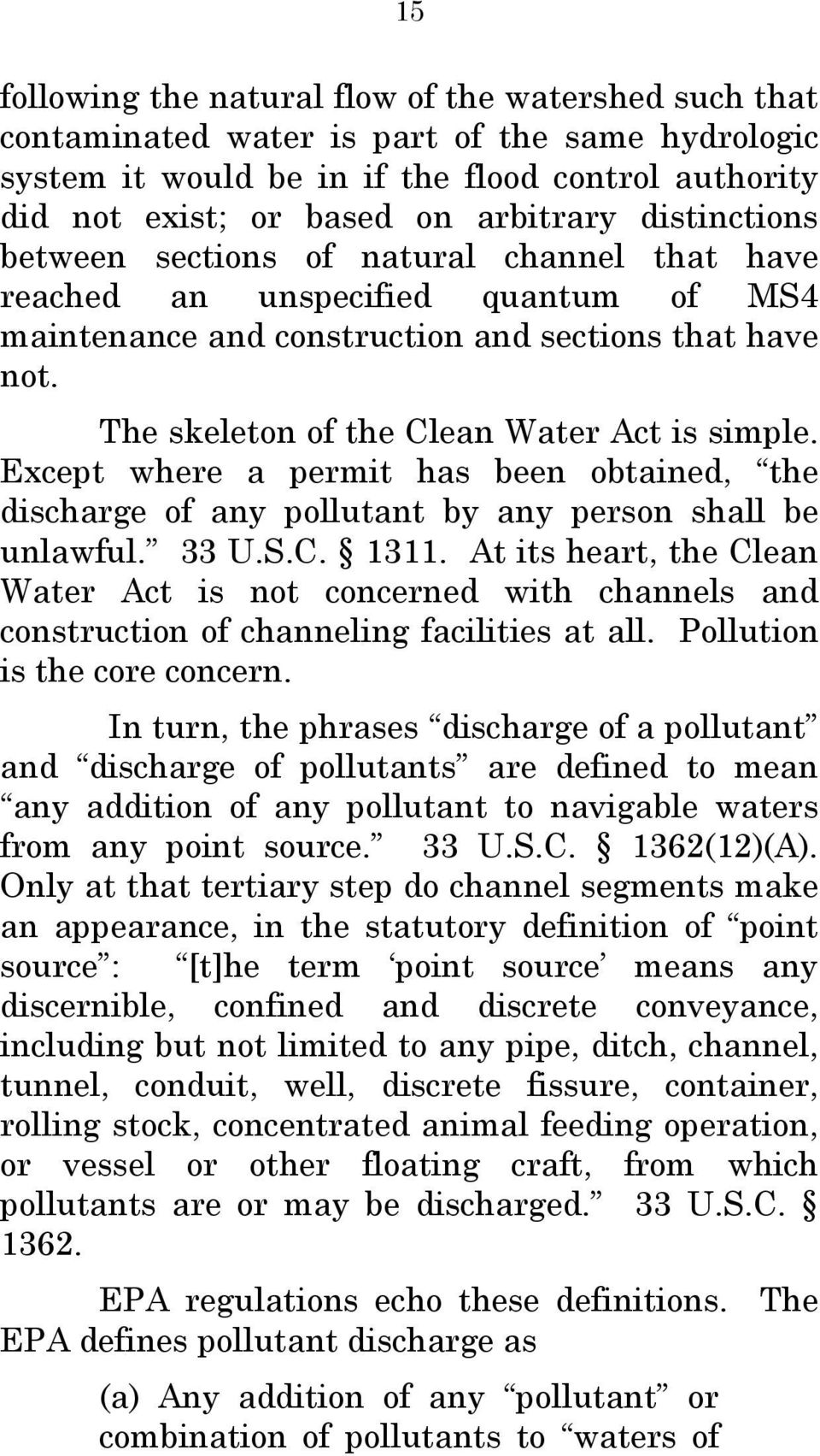 Except where a permit has been obtained, the discharge of any pollutant by any person shall be unlawful. 33 U.S.C. 1311.