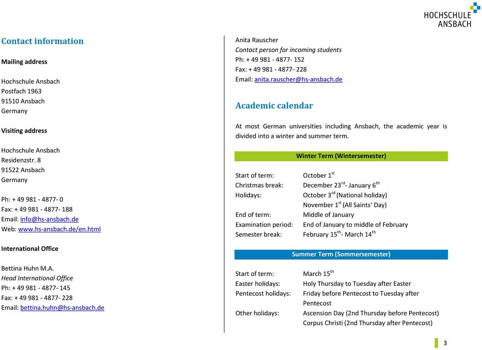 ANSBACH UNIVERSITY OF APPLIED SCIENCES. Study Guide - PDF