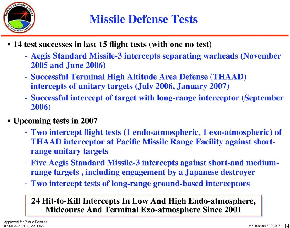 intercept flight tests (1 endo-atmospheric, 1 exo-atmospheric) of THAAD interceptor at Pacific Missile Range Facility against shortrange unitary targets - Five Aegis Standard Missile-3 intercepts