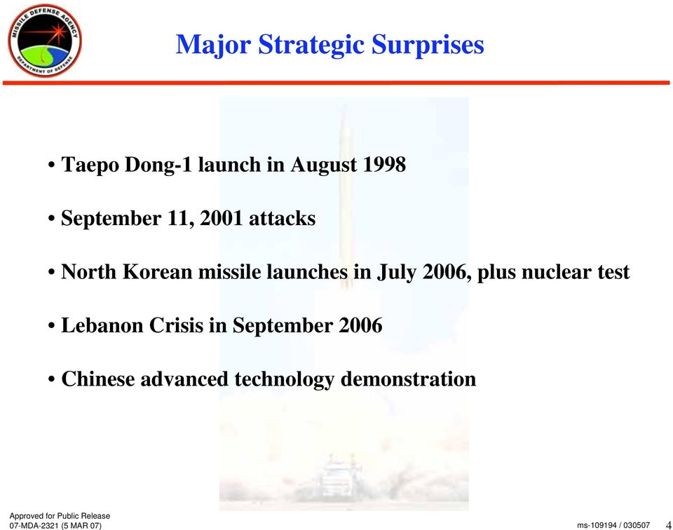 launches in July 2006, plus nuclear test Lebanon Crisis