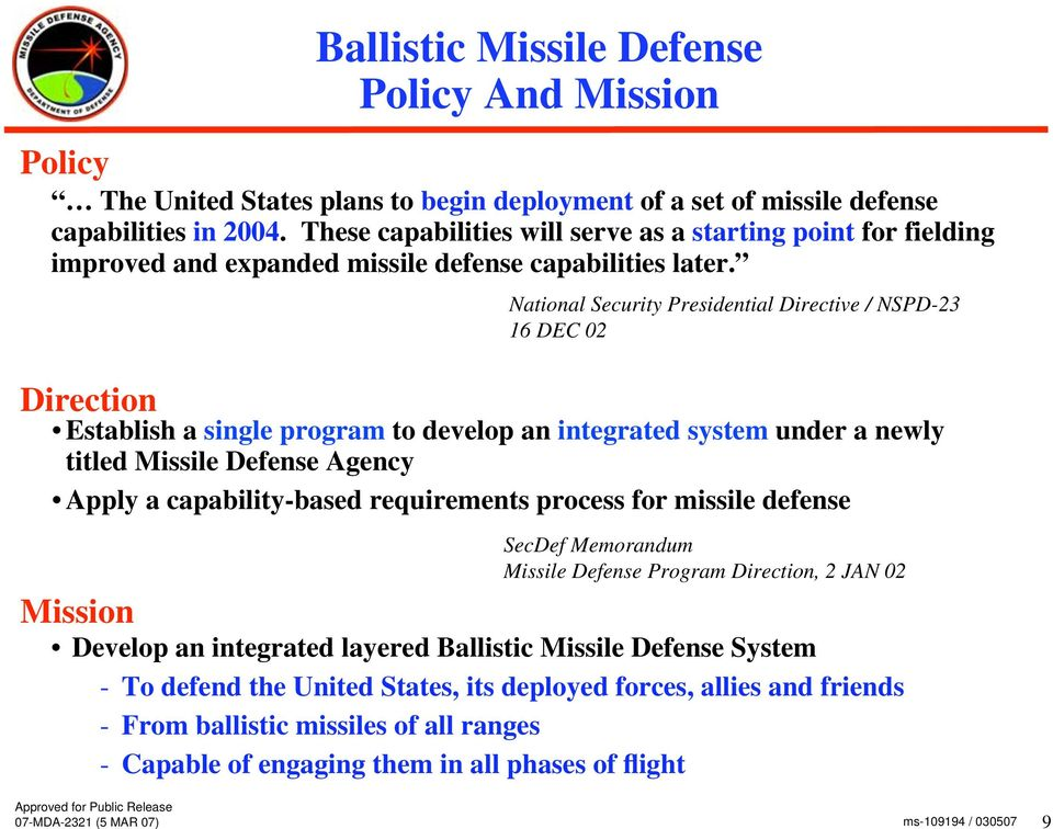 National Security Presidential Directive / NSPD-23 16 DEC 02 Direction Establish a single program to develop an integrated system under a newly titled Missile Defense Agency Apply a capability-based