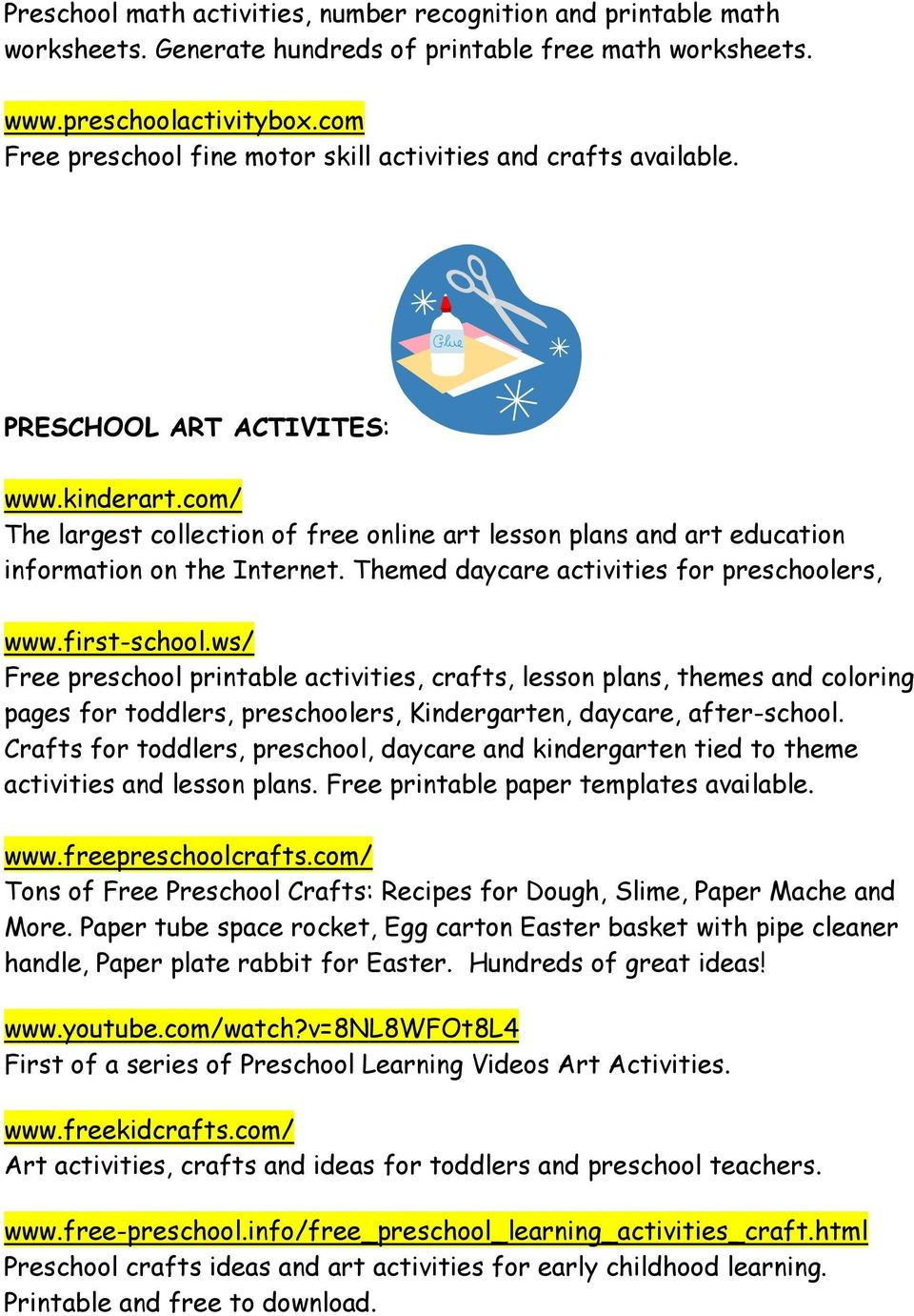 com/ The largest collection of free online art lesson plans and art education information on the Internet. Themed daycare activities for preschoolers, www.first-school.