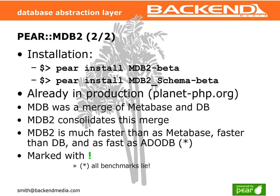 org) MDB was a merge of Metabase and DB MDB2 consolidates this merge MDB2 is