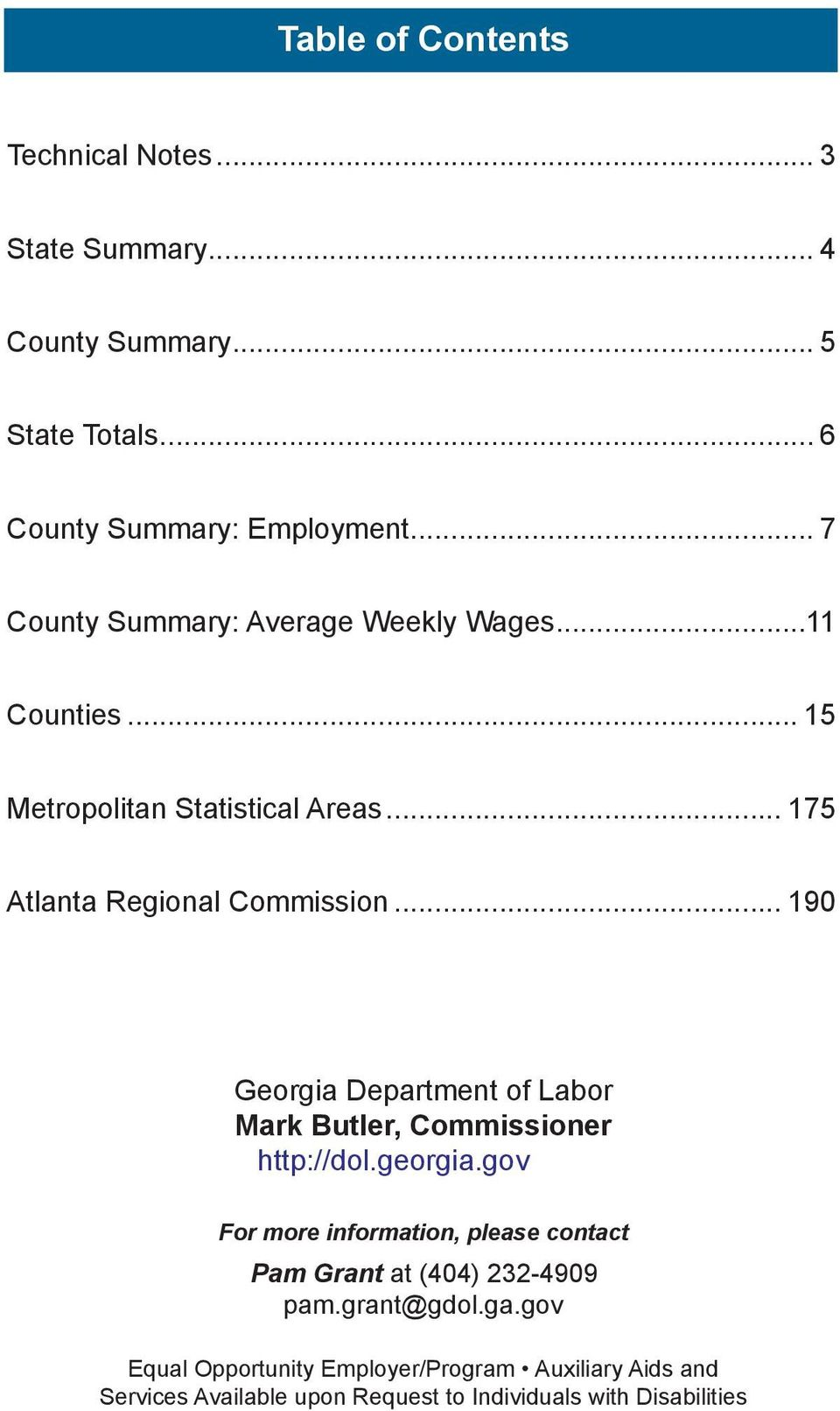 .. 190 Georgia Department of Labor Mark Butler, Commissioner http://dol.georgia.