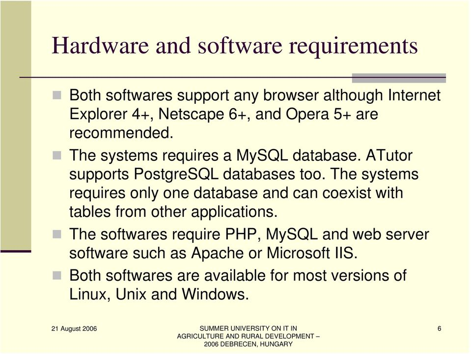 The systems requires only one database and can coexist with tables from other applications.