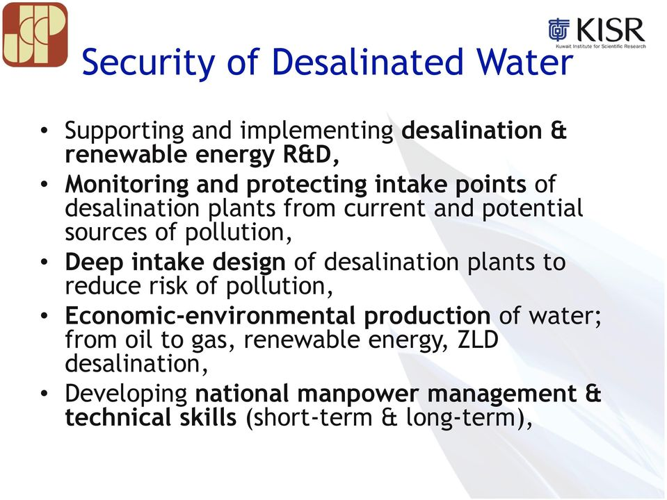 design of desalination plants to reduce risk of pollution, Economic-environmental production of water; from oil to