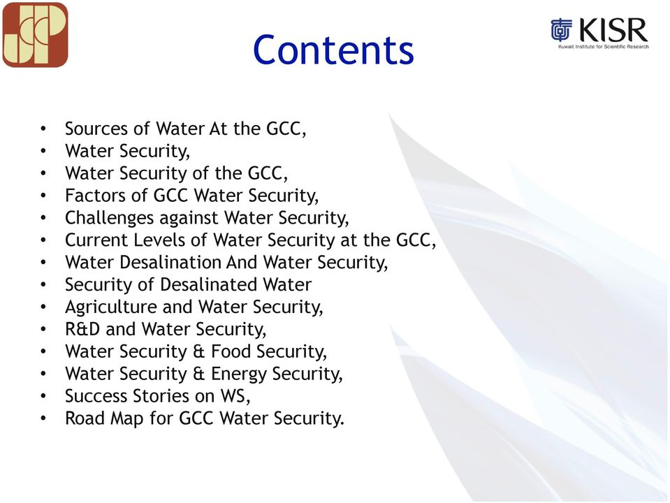And Water Security, Security of Desalinated Water Agriculture and Water Security, R&D and Water Security,