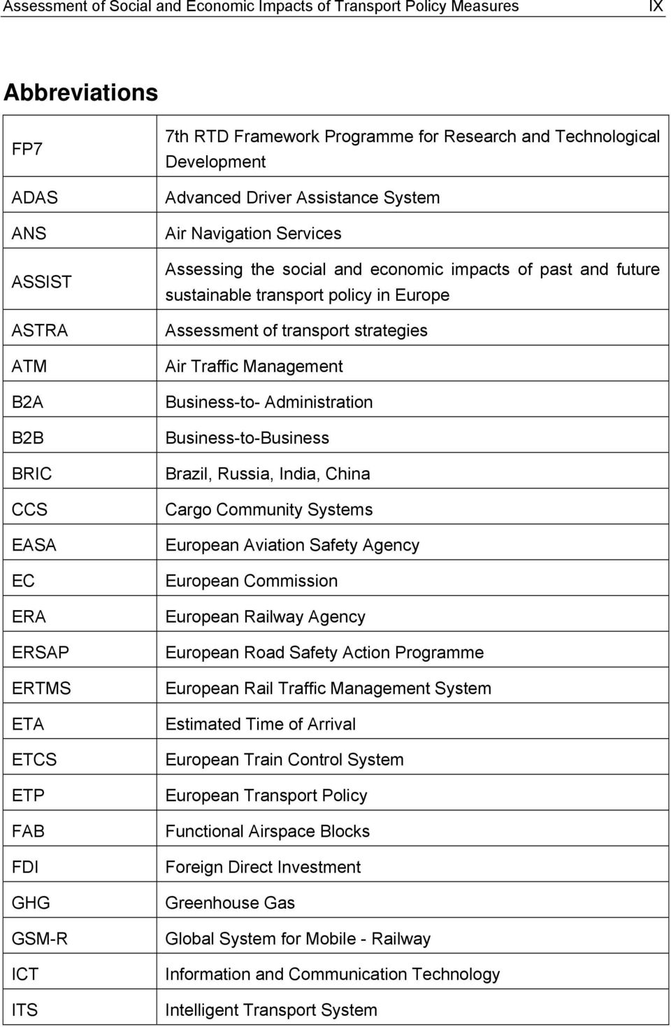 Europe Assessment of strategies Traffic Management Business-to- Administration Business-to-Business Brazil, Russia, India, China Cargo Community Systems European Aviation Safety Agency European