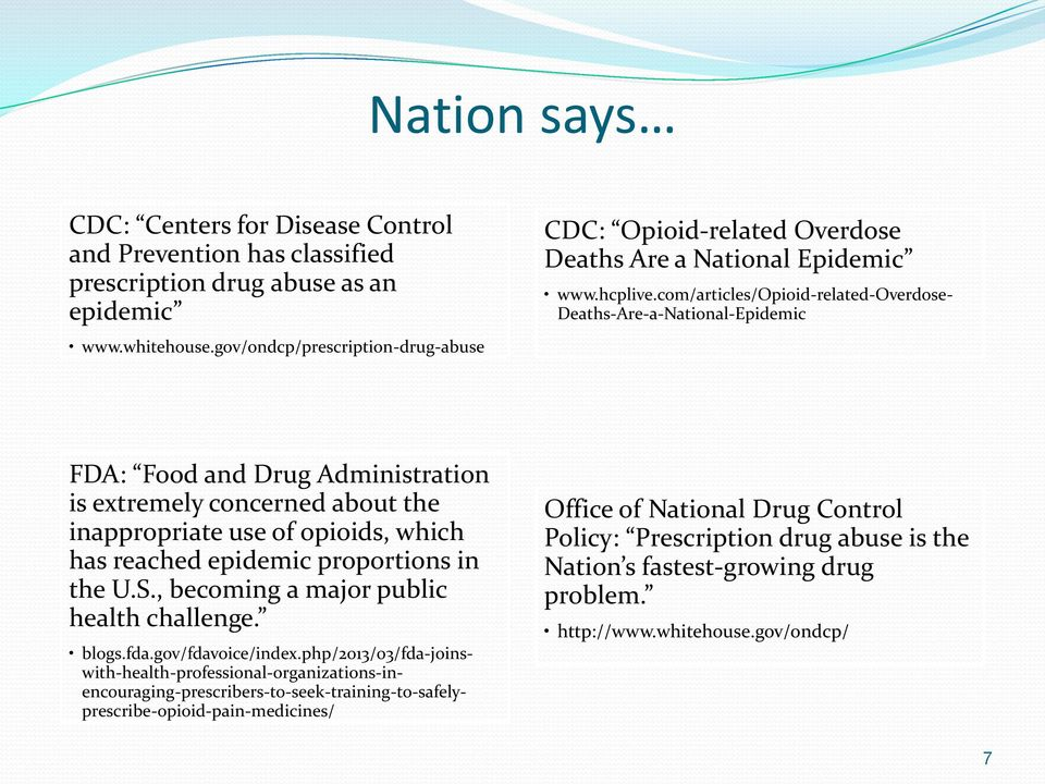 com/articles/opioid-related-overdose- Deaths-Are-a-National-Epidemic FDA: Food and Drug Administration is extremely concerned about the inappropriate use of opioids, which has reached epidemic