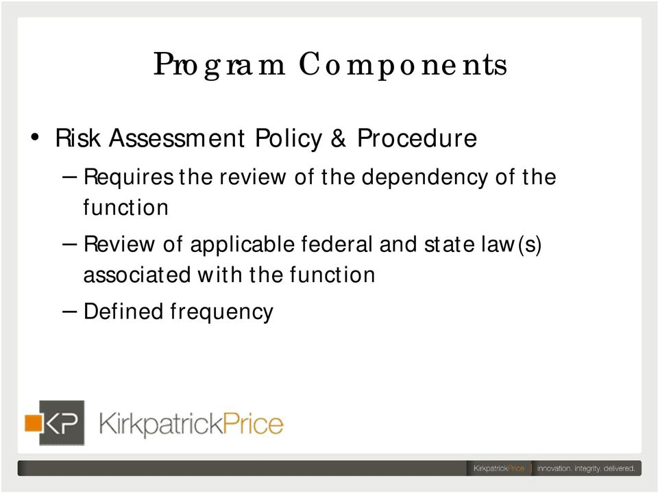 of the function Review of applicable federal and