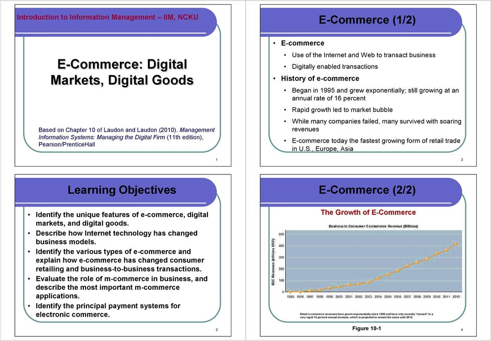 1 2010 by Prentice Hall E-commerce Use of the Internet and Web to transact business Digitally enabled transactions History of e-commerce E-Commerce (1/2) Began in 1995 and grew exponentially; still