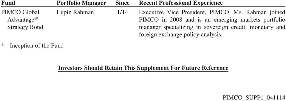 Rahman joined PIMCO in 2008 and is an emerging markets portfolio manager specializing in sovereign