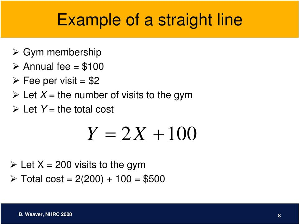 Let Y = the total cost Y = 2X + 100 Let X = 200 visits to