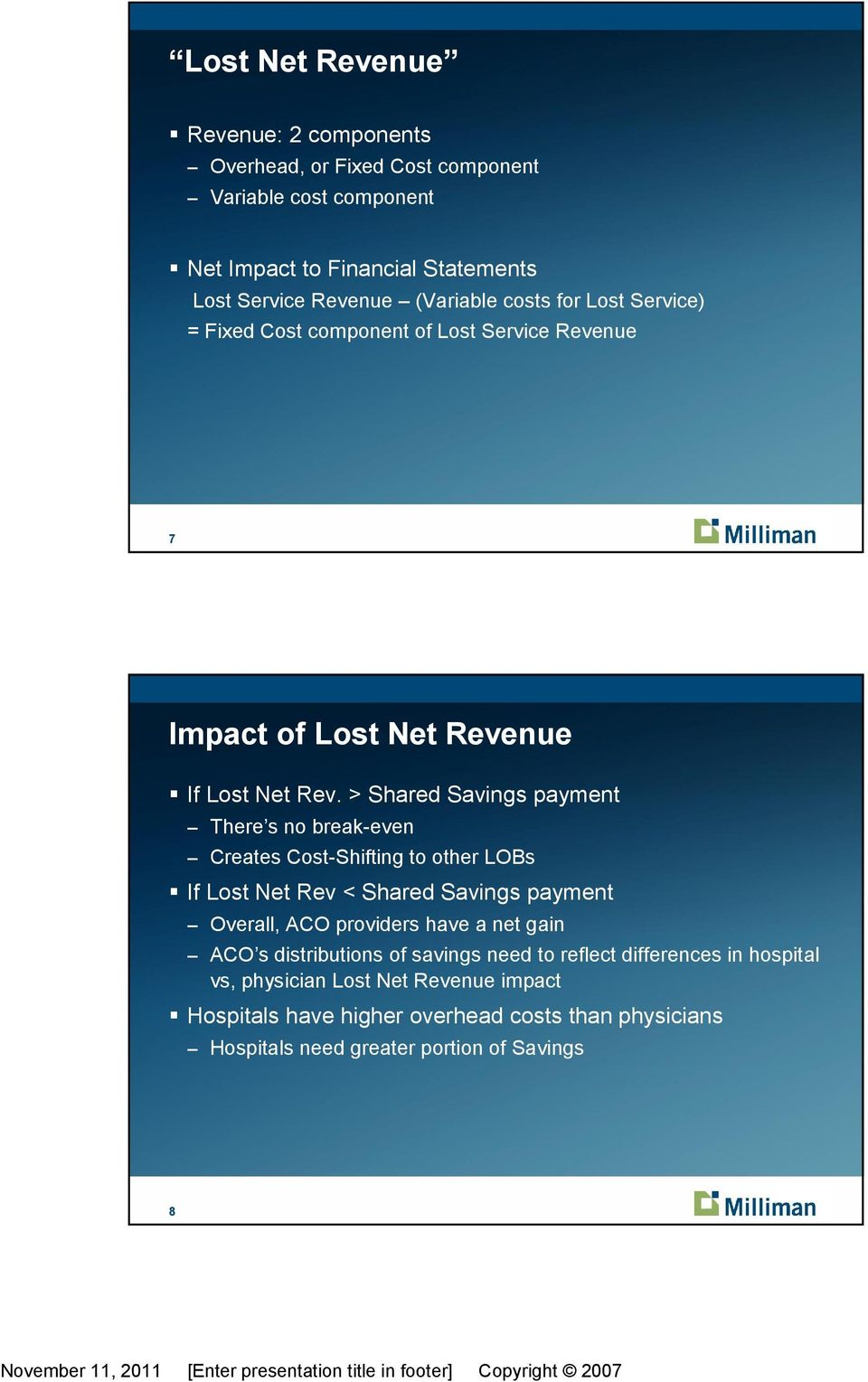 > Shared Savings payment There s no break-even Creates Cost-Shifting to other LOBs If Lost Net Rev < Shared Savings payment Overall, ACO providers have a net