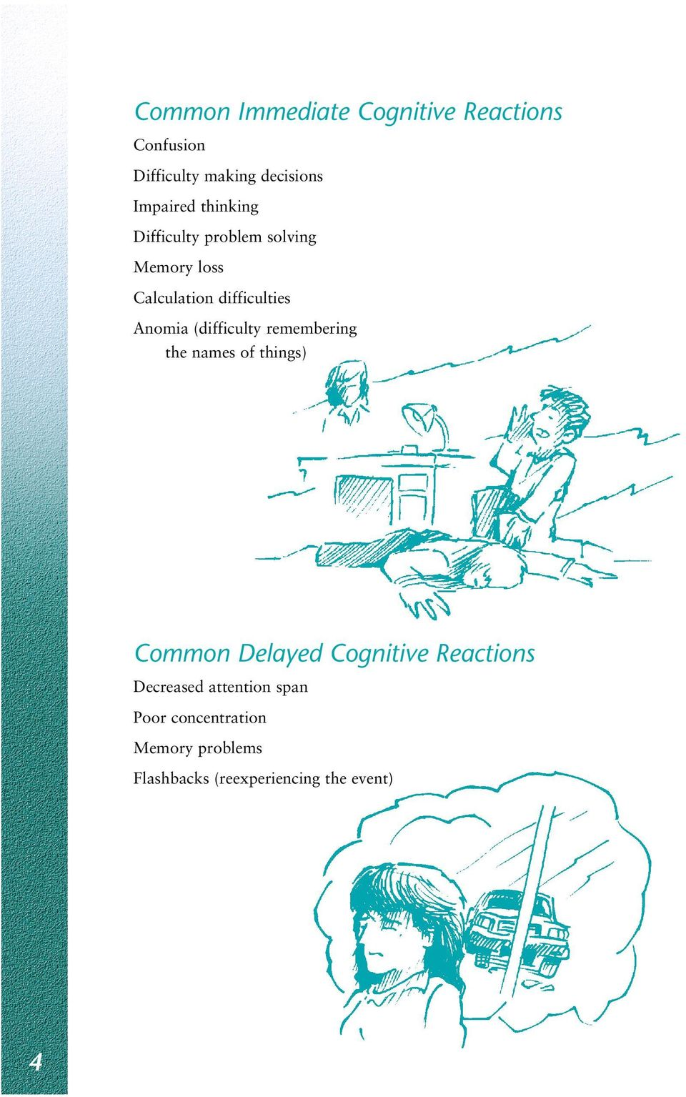 (difficulty remembering the names of things) Common Delayed Cognitive Reactions