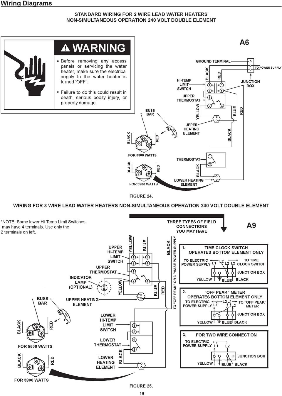 WIRING FOR 3 WIRE LEAD WATER HEATERS NON-SIMULTANEOUS OPERATION 240 VOLT DOUBLE