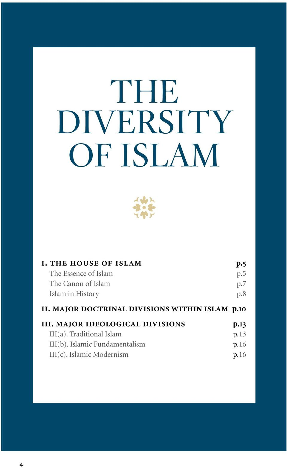major doctrinal divisions within islam p.10 iii.