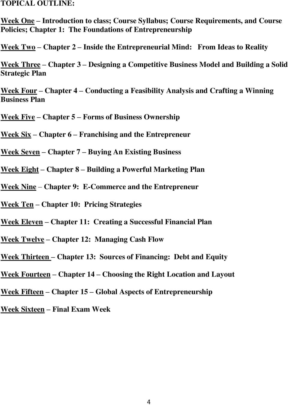 Crafting a Winning Business Plan Week Five Chapter 5 Forms of Business Ownership Week Six Chapter 6 Franchising and the Entrepreneur Week Seven Chapter 7 Buying An Existing Business Week Eight